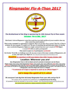 Ringmaster Fly-A-Thon this coming weekend. Keep the Control line spirit alive Brotherhood Of The Rin